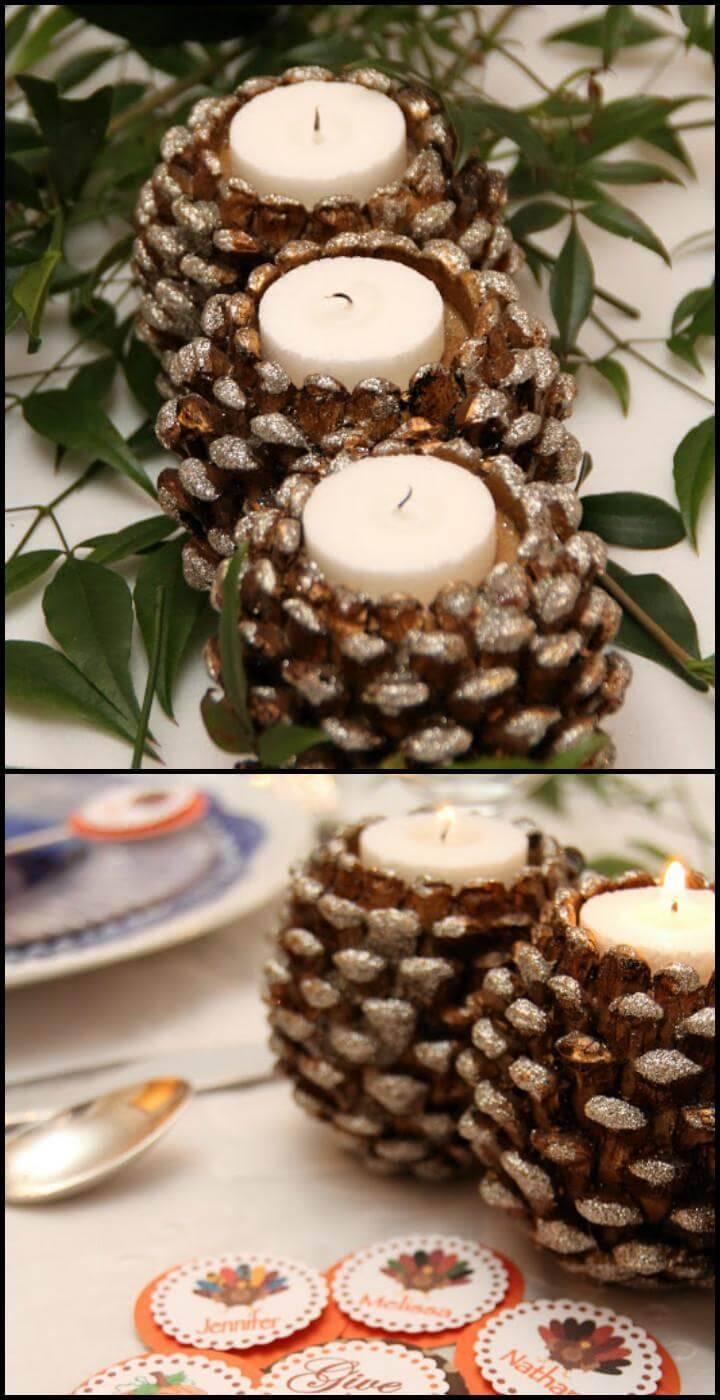 repurposed pinecone votives