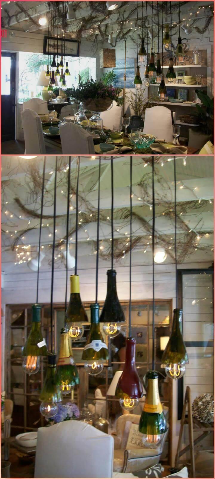 repurposed glass bottle pendant lights or chandelier