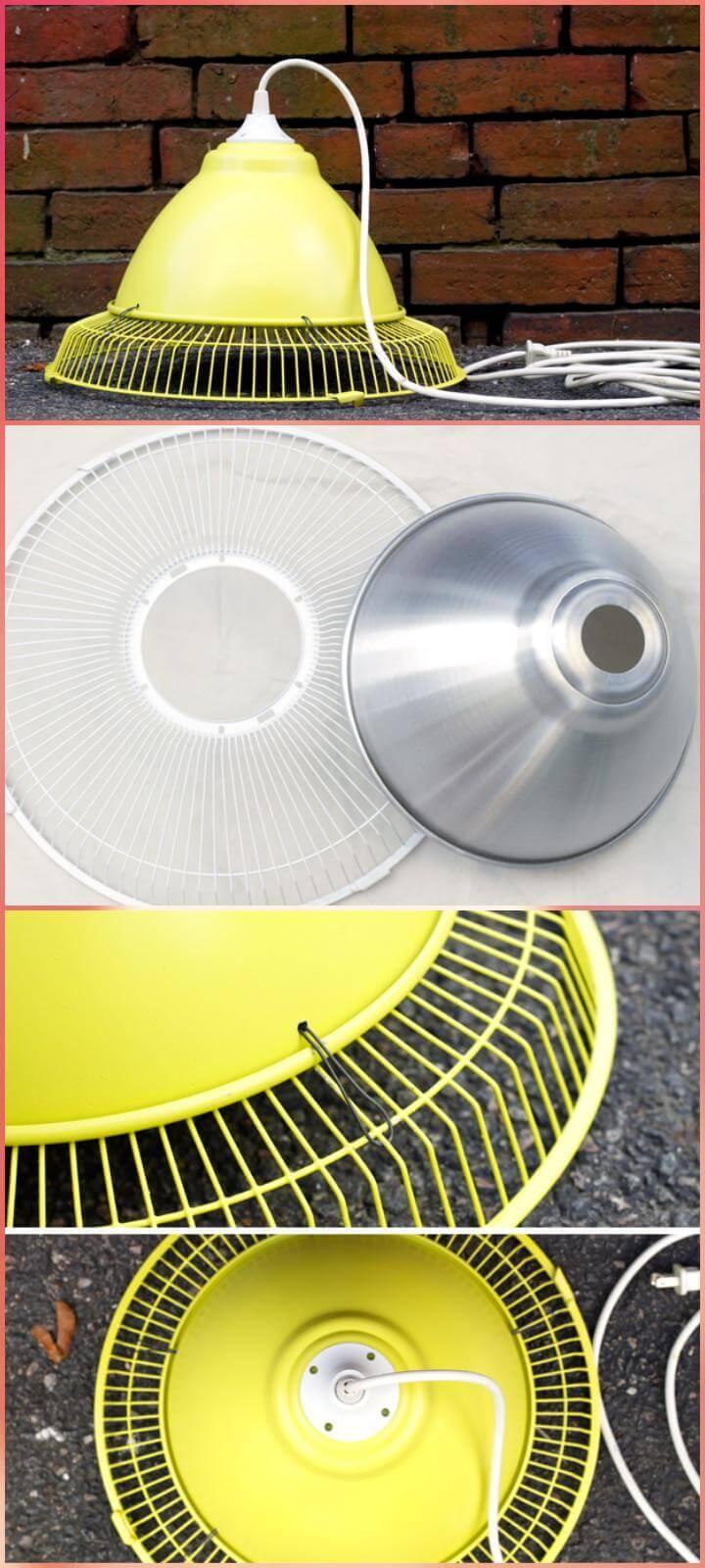 repurposed old fan industrial style pendant light