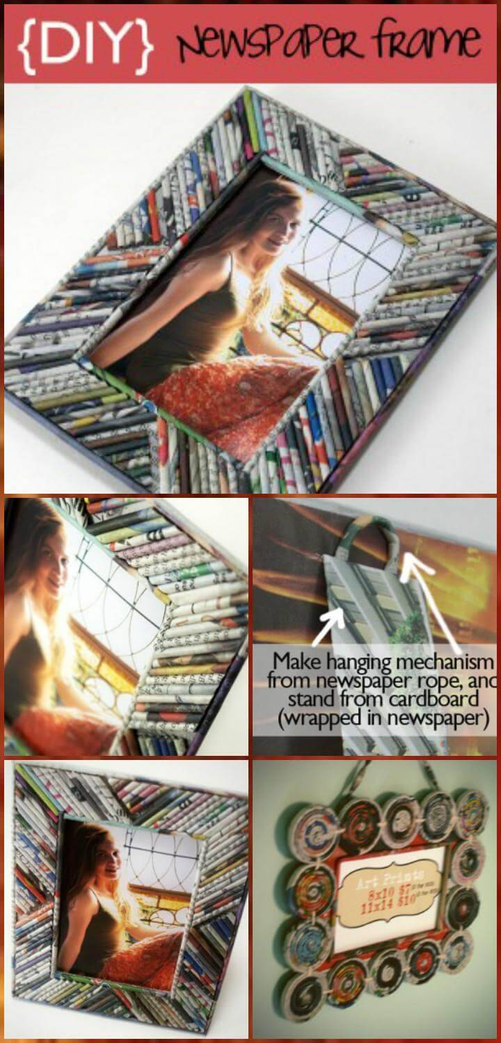 easy rolled newspaper picture frame