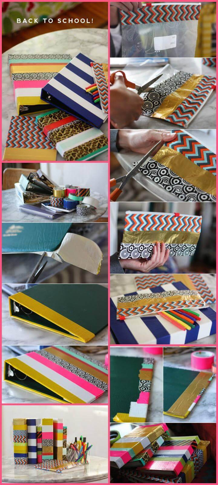 easy school supply washi tape makeover