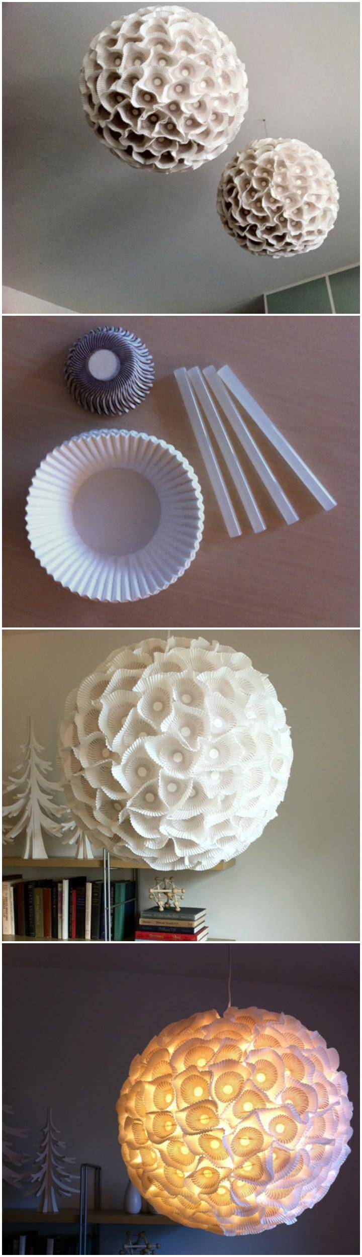 low-cost sculptural paper orb pendant lights