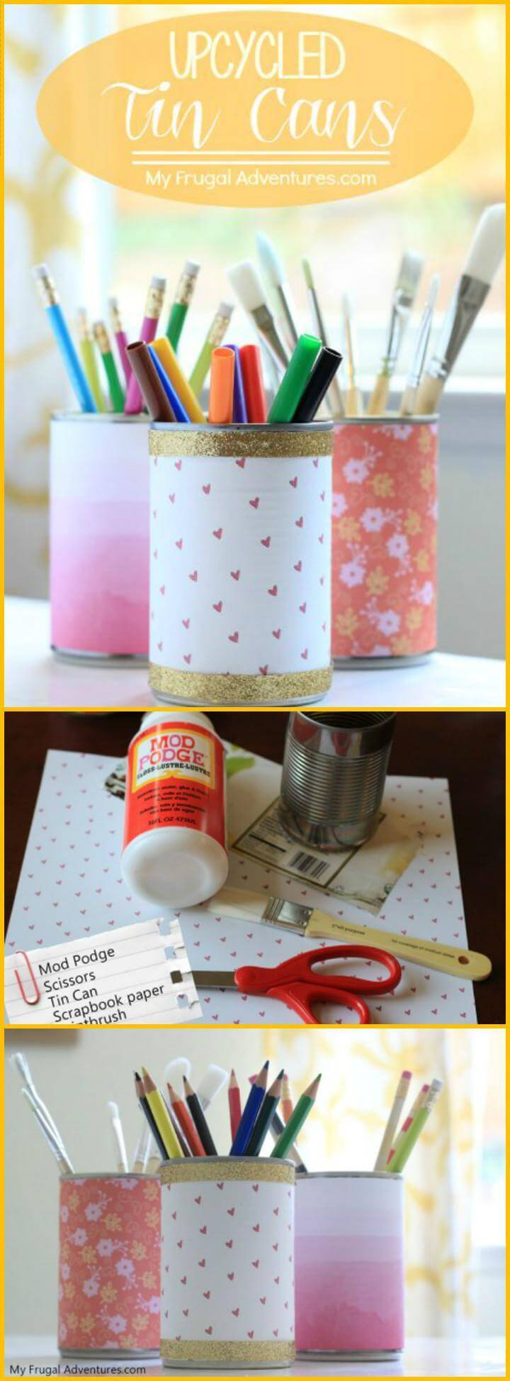 easy upcycled tin can stationery holders