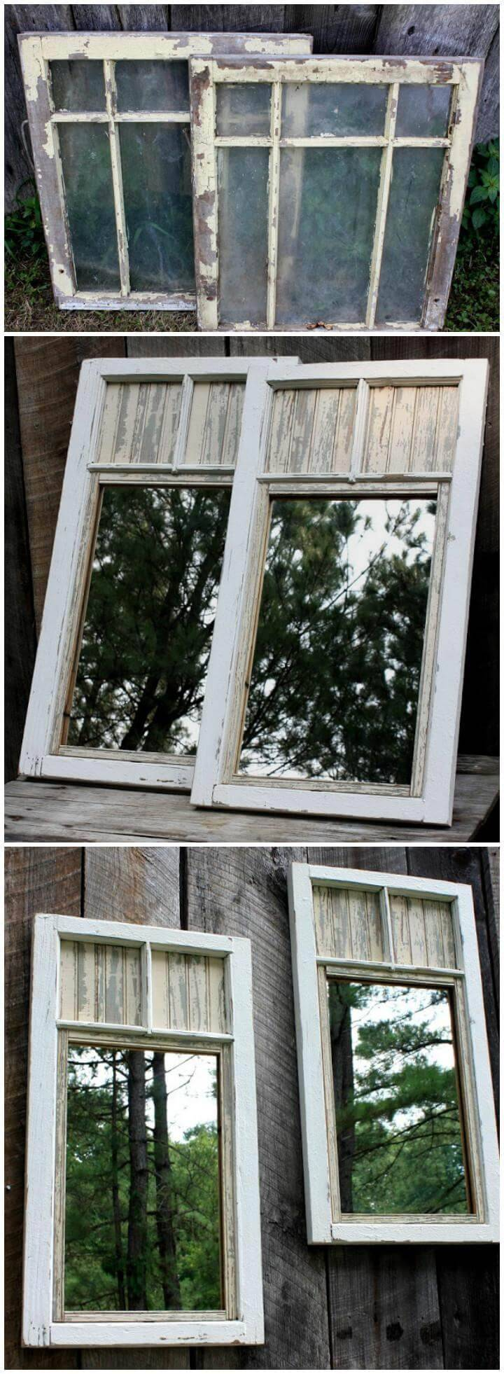 reclaimed vintage frames fence mirrors