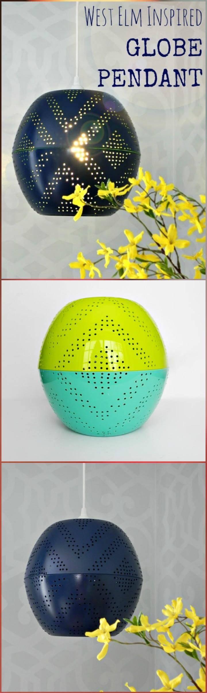 handmade West Elm inspired globe pendant