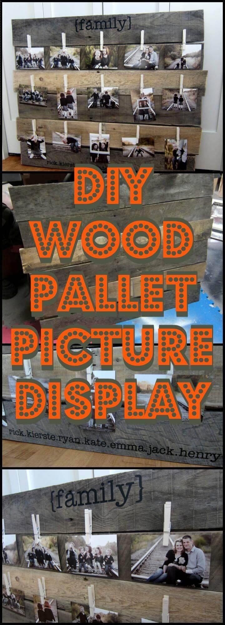 DIY wooden pallet picture display