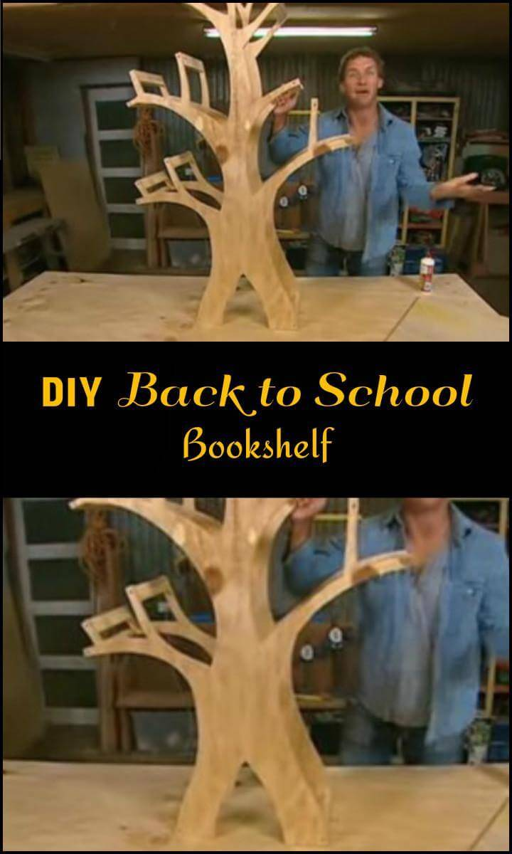 super beautiful DIY wooden tree back to school bookshelf