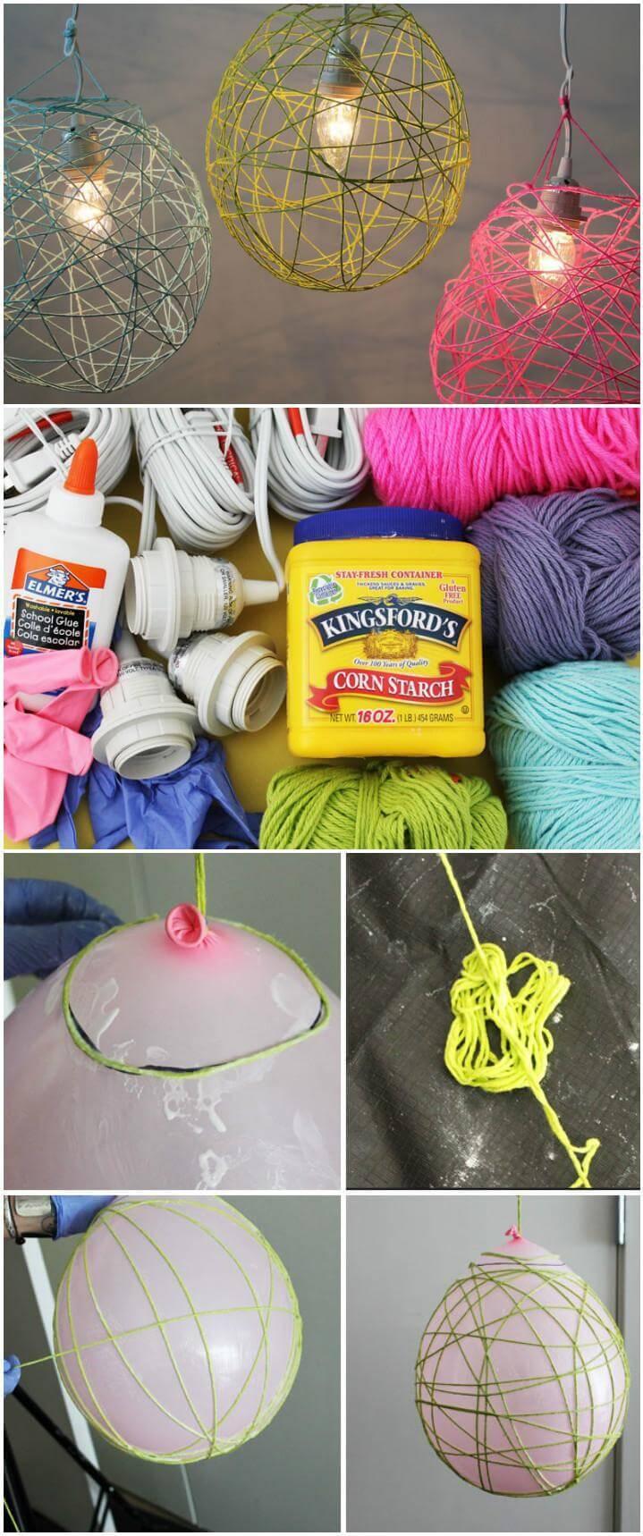 self-made yarn pendant lights