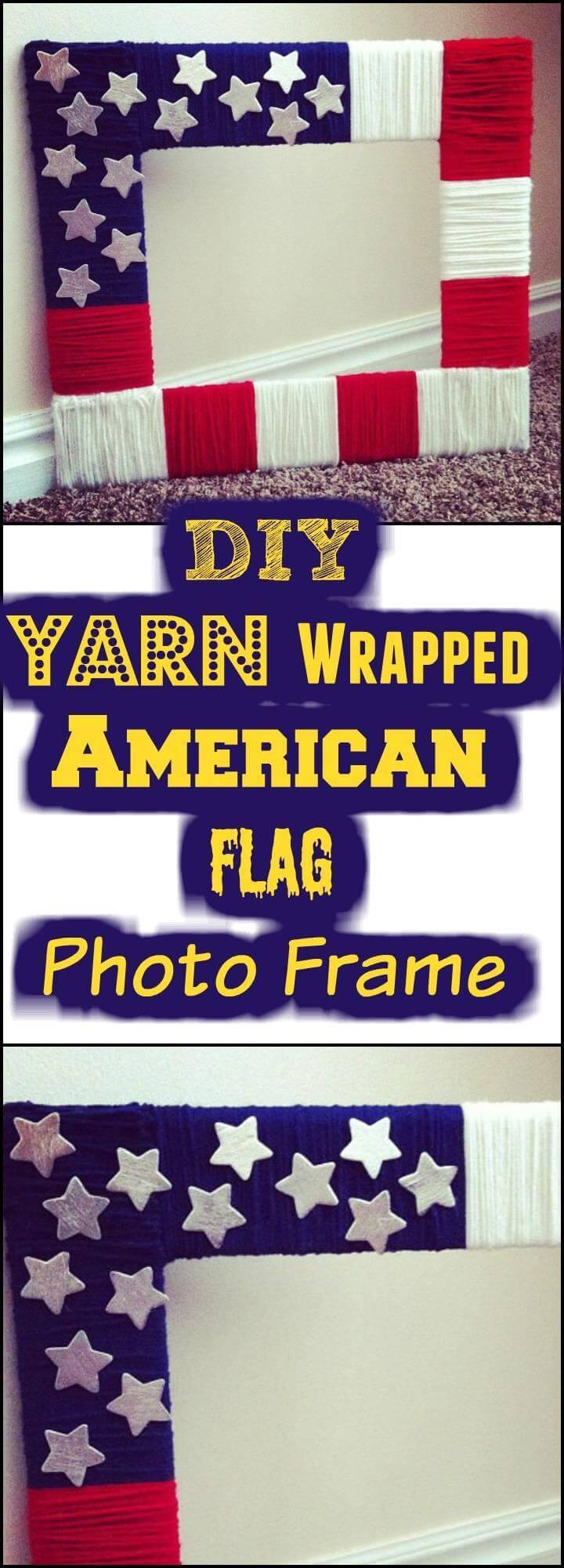 DIY yarn wrapped American flag photo frame