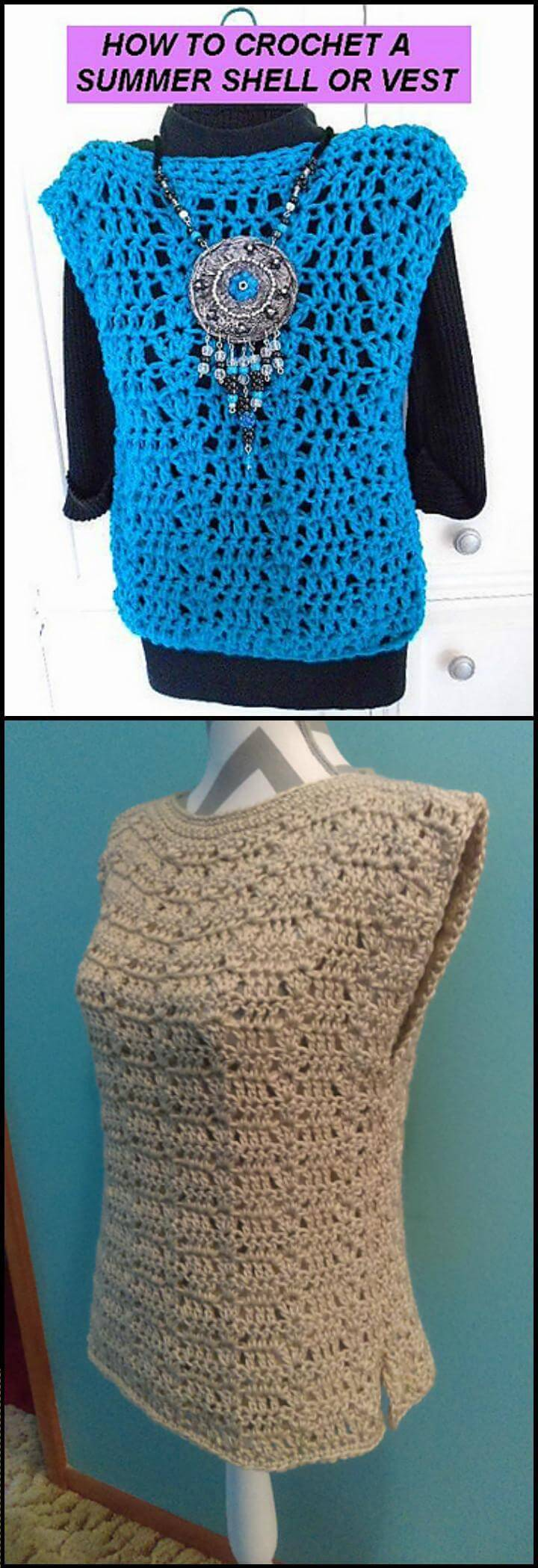 free crochet summer shell or vest