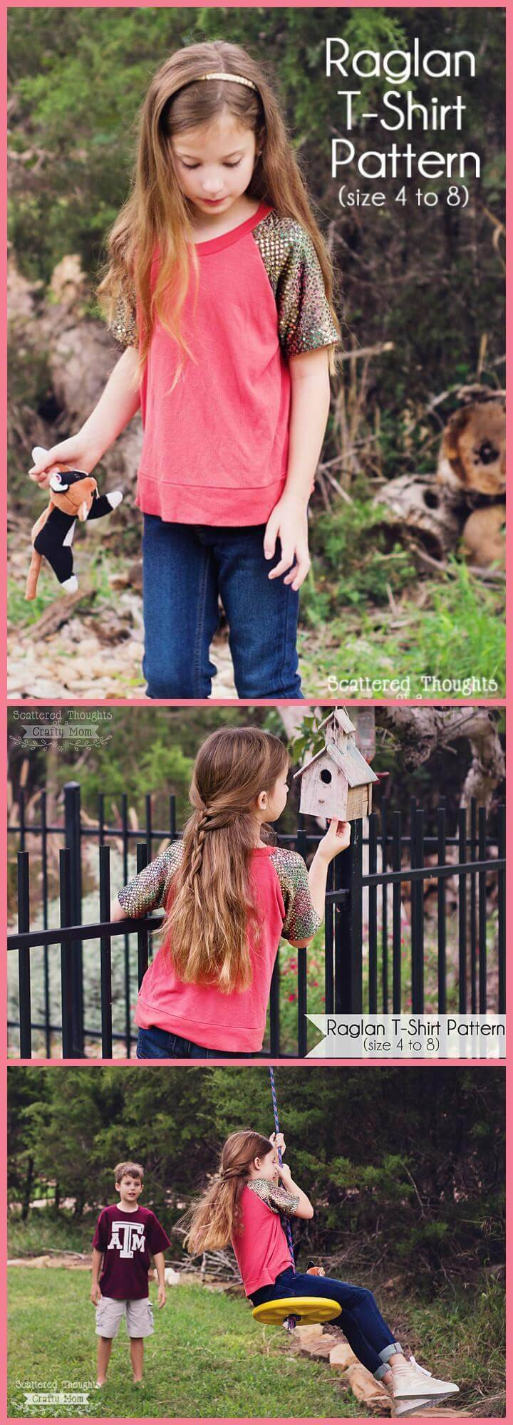 easy girls raglant t-shirt free pattern and tutorial