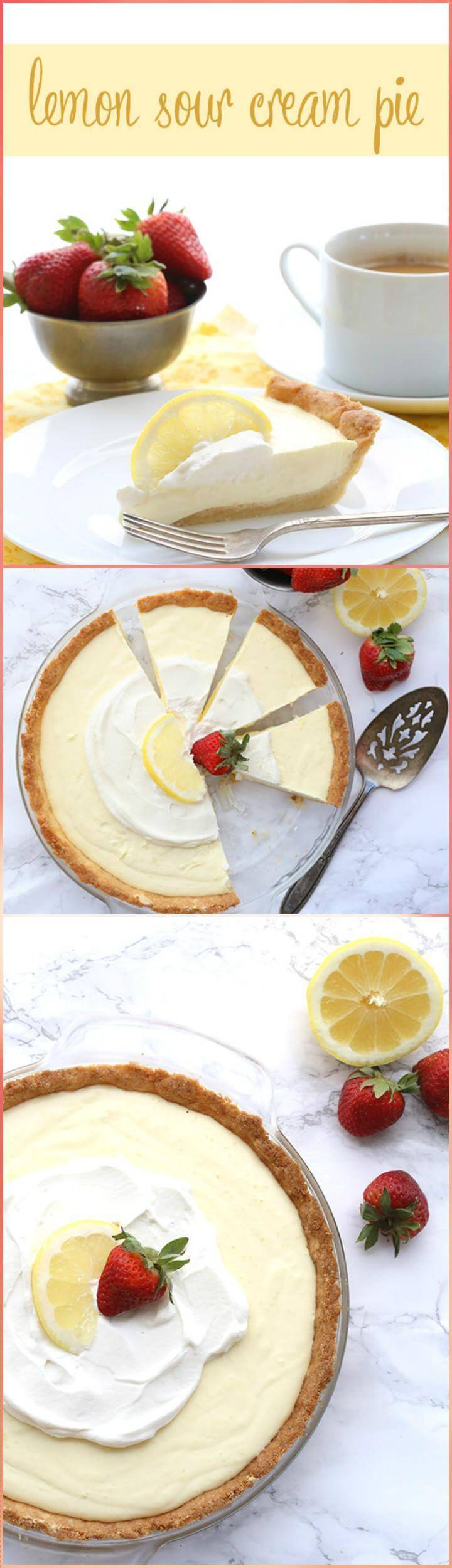 easy lemon sour cream pie