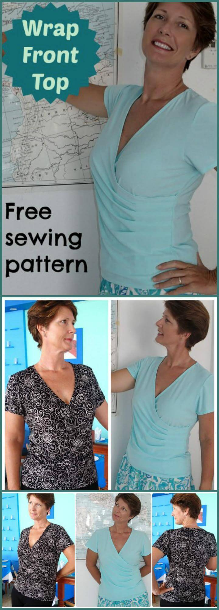 easy wrap top free sewing pattern