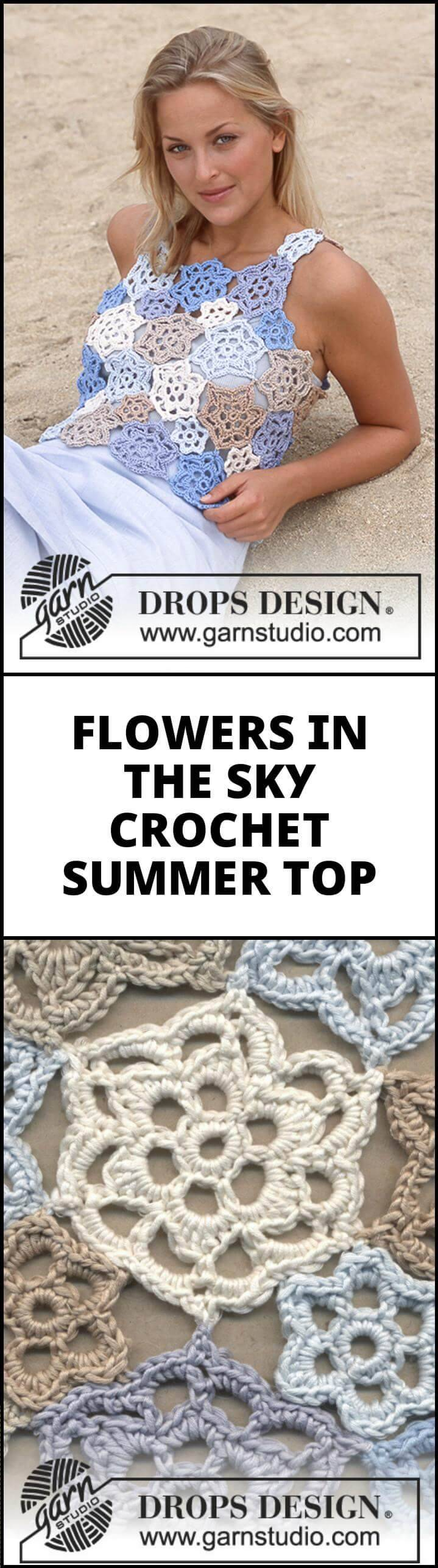 easy crocet flower in the sky summer top