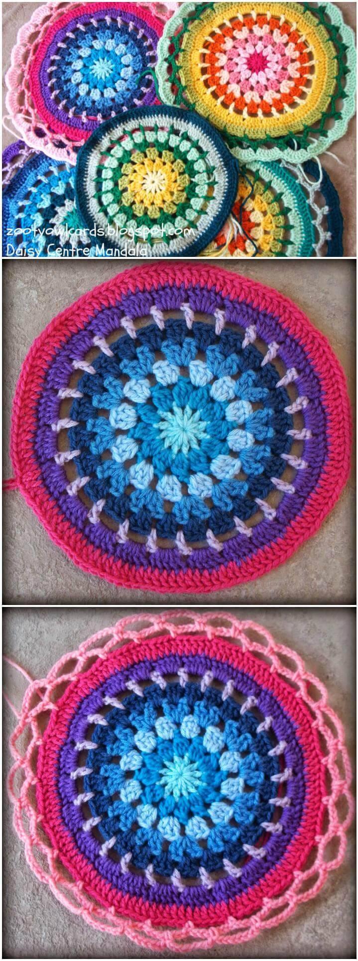 free crochet daisy centre mandala pattern
