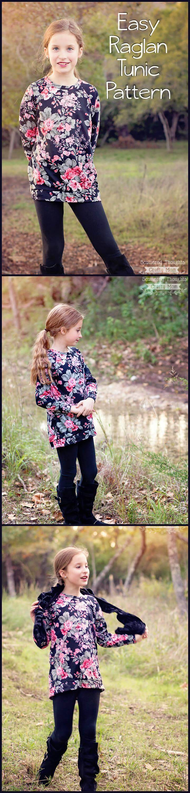 easy girls raglan tunic pattern