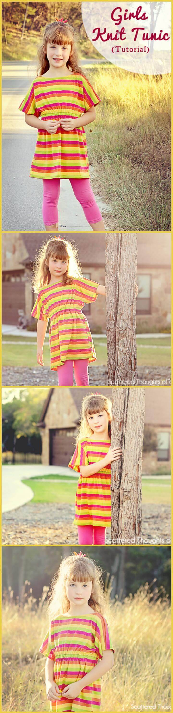 easy girls knit tunic pattern and tutorial