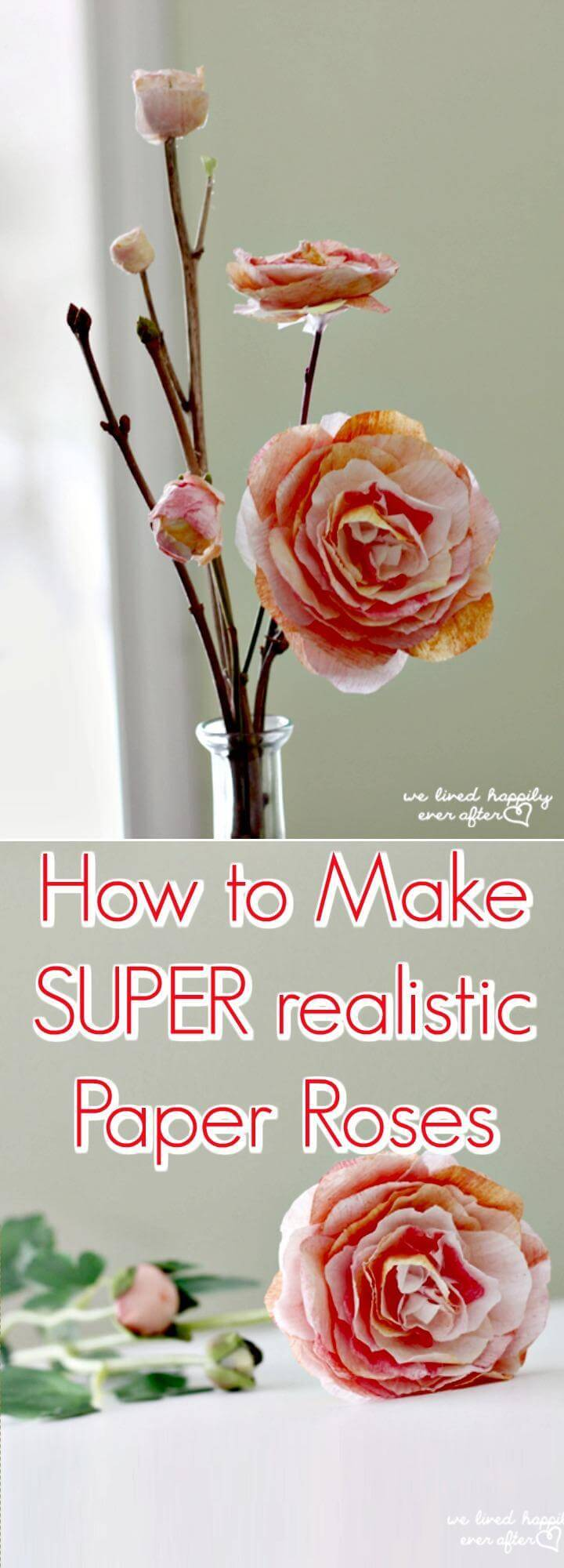 super realistic paper roses tutorial
