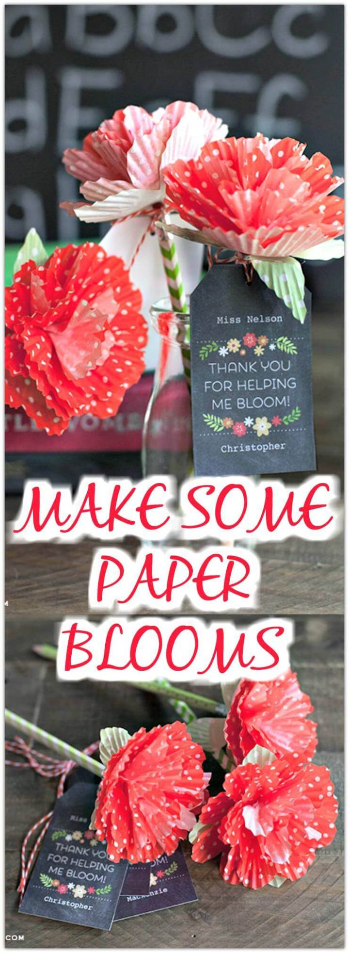 handmade paper bloom to top washi covered pencils