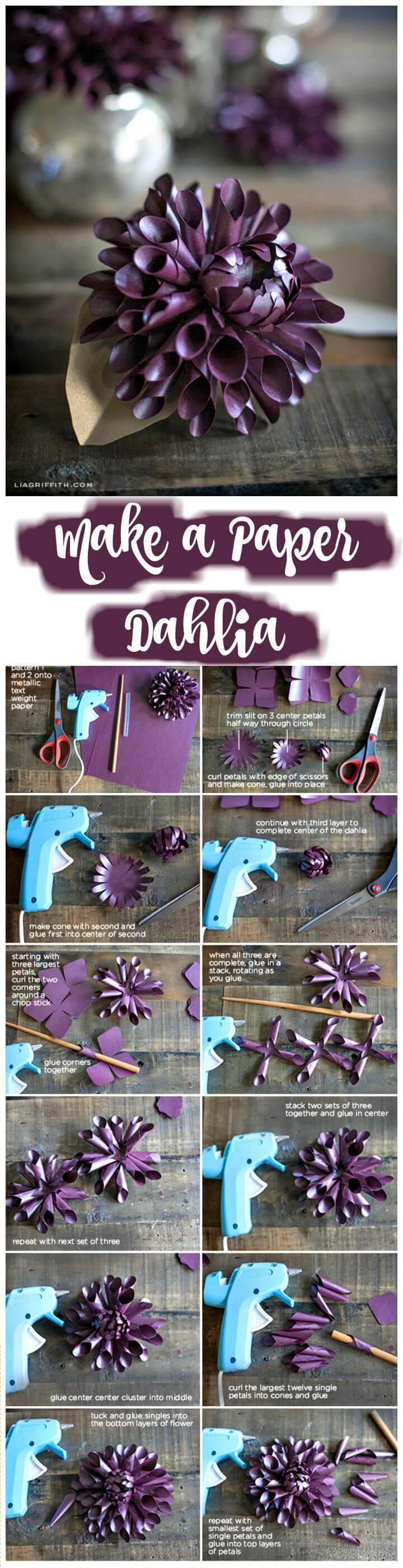 DIY handmade paper dahlia