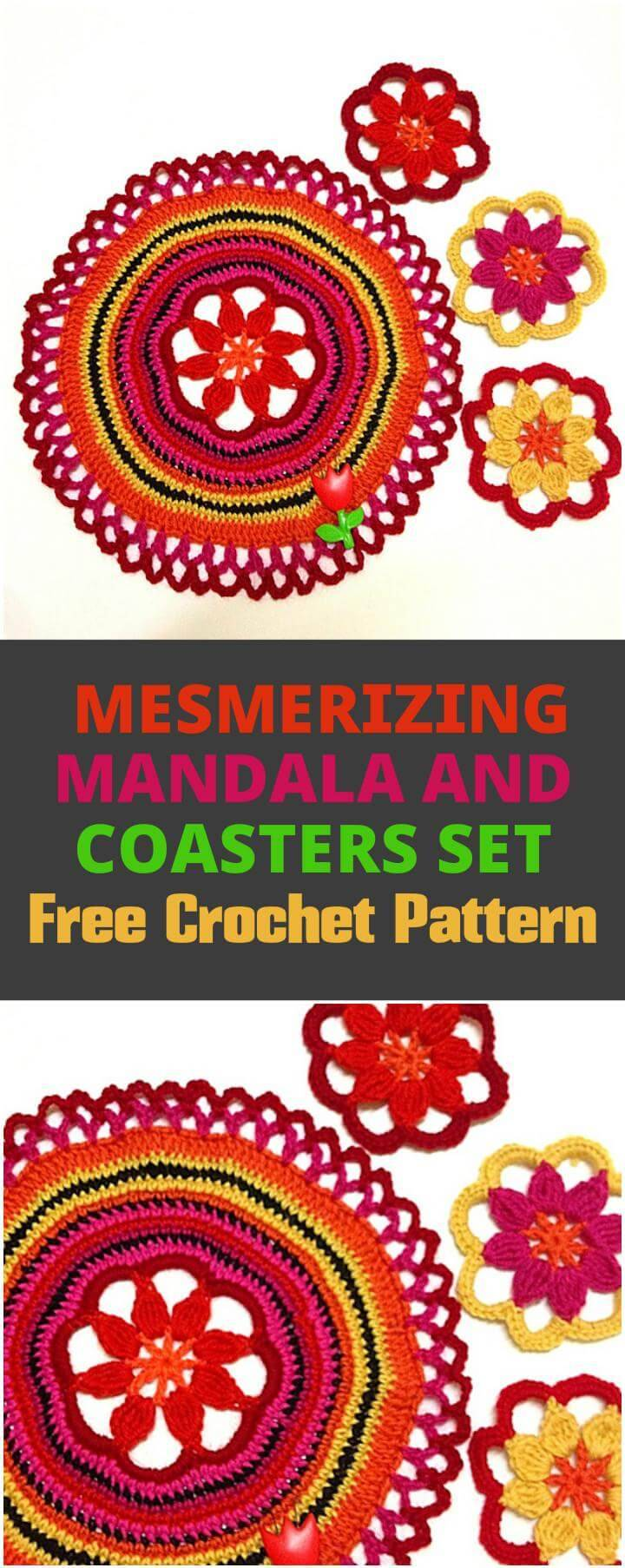 crochet mandala and coasters set
