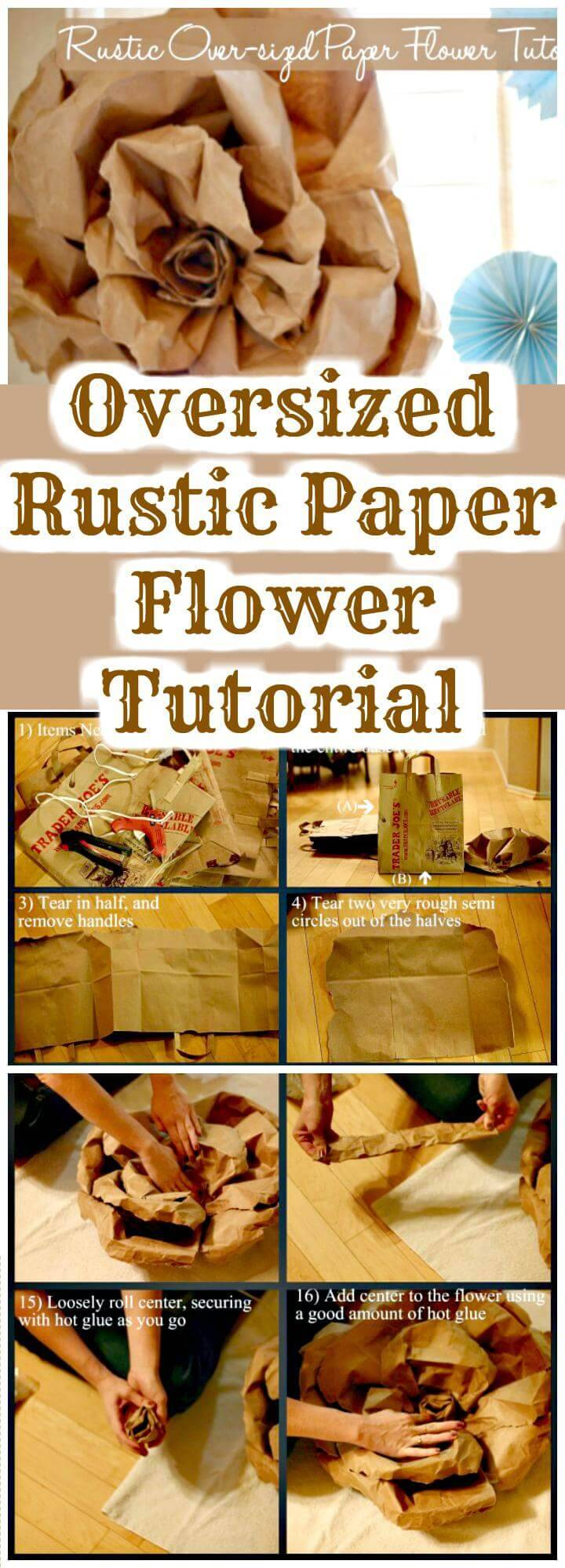 DIY Oversized Rustic Paper Flower Tutorial