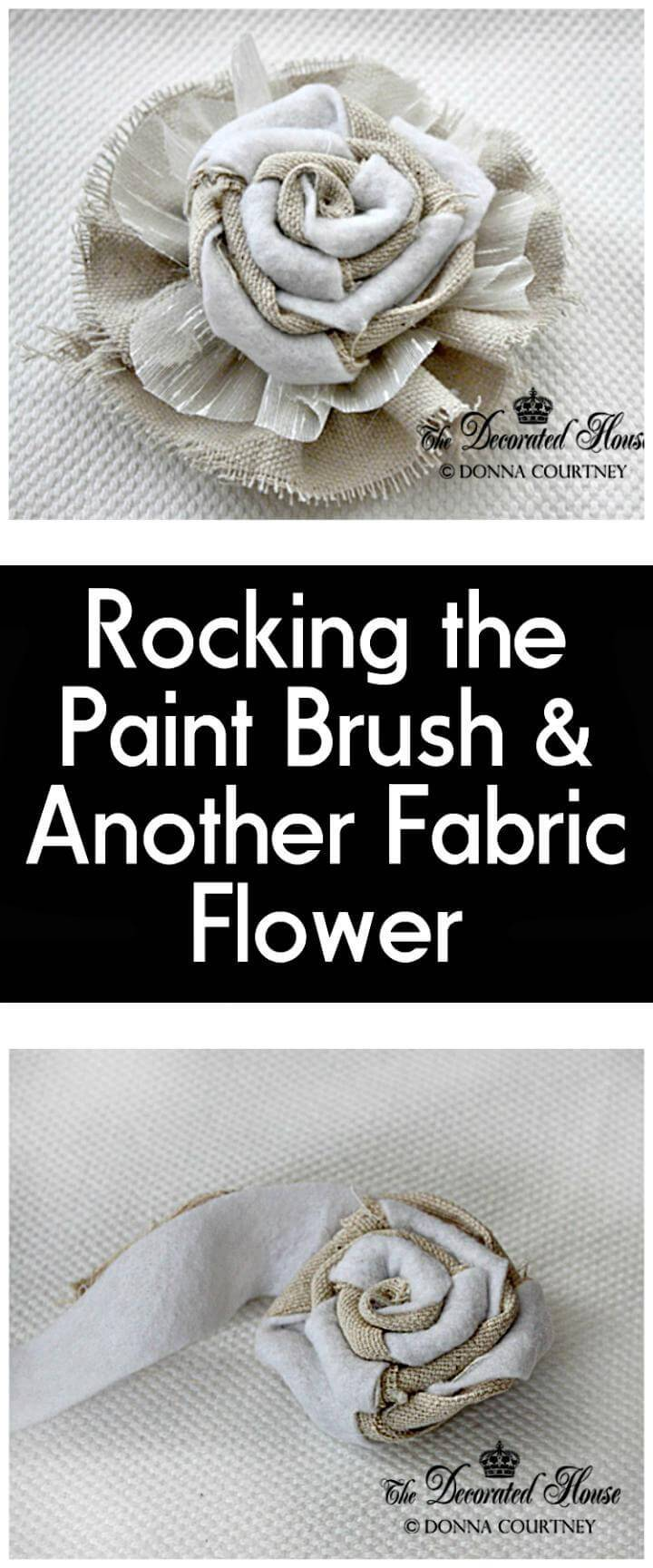 handcrafted paint brush and fabric flower