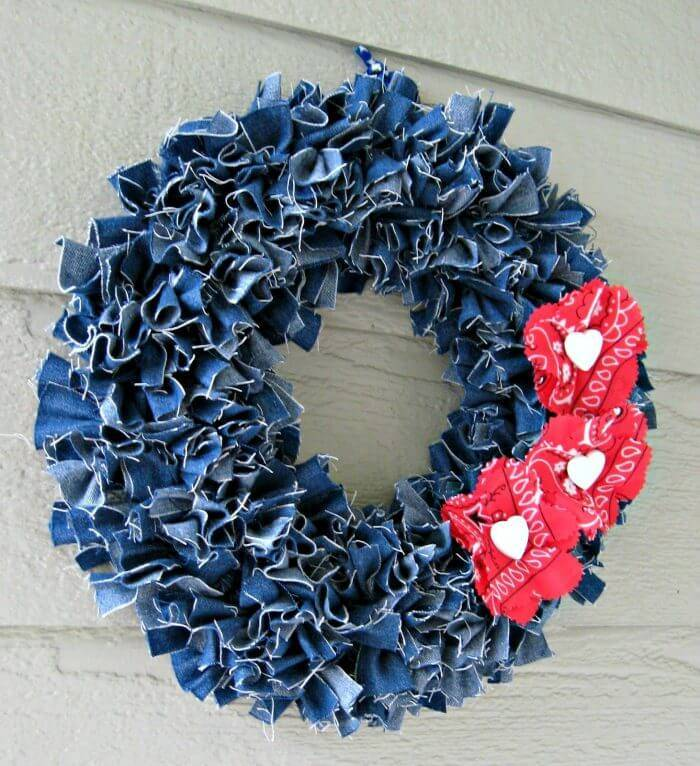 4th Of July - Make a Denim Wreath with Red Floral Accents