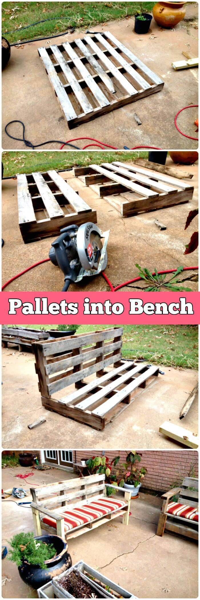 Repurposed Pallet Outdoor Patio Bench