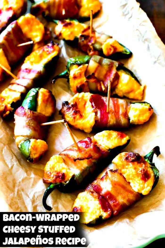bacon wrapped cheesy stuffed jalapenos