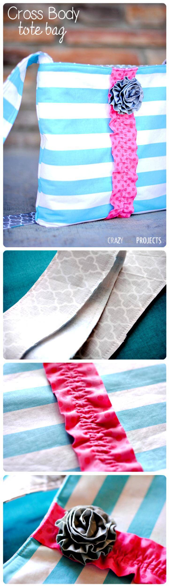 easy cute cross body tote bag tutorial