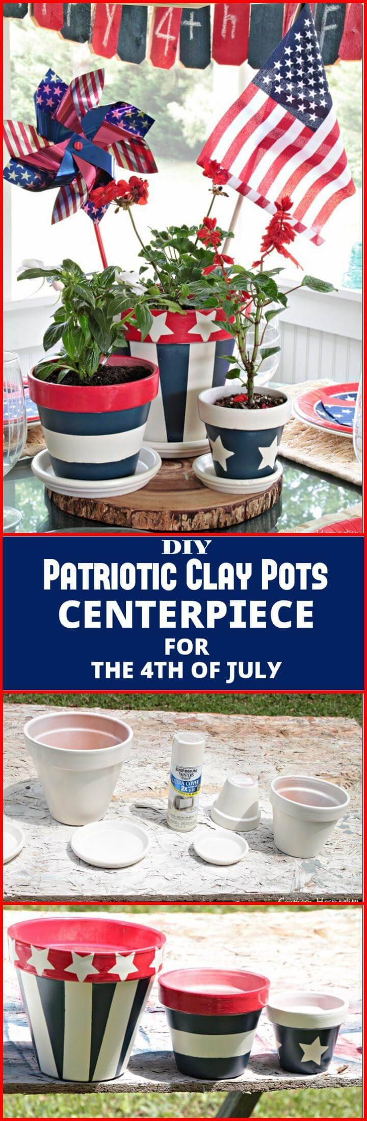 handmade patriotic clay pots centerpiece for 4th July
