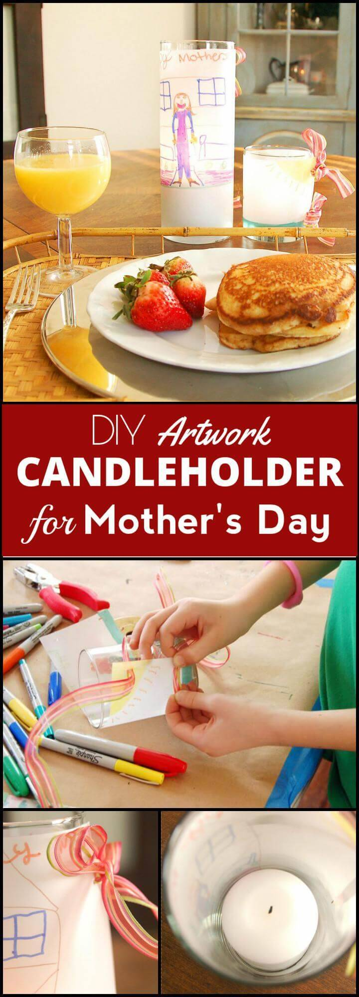 DIY artwork candleholder for Mother's Day