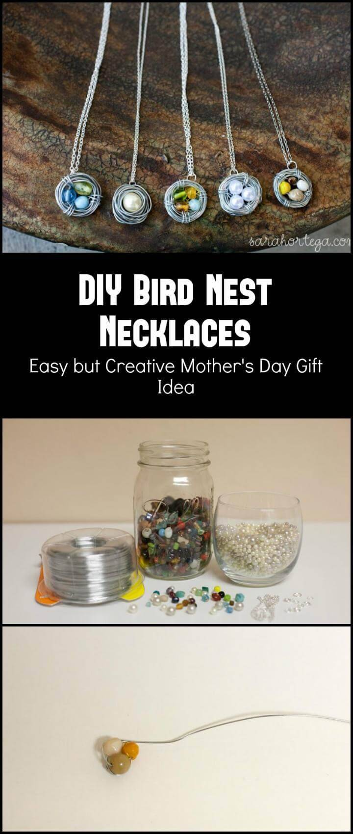 DIY brilliant bird nest necklace Mother's Day gift idea