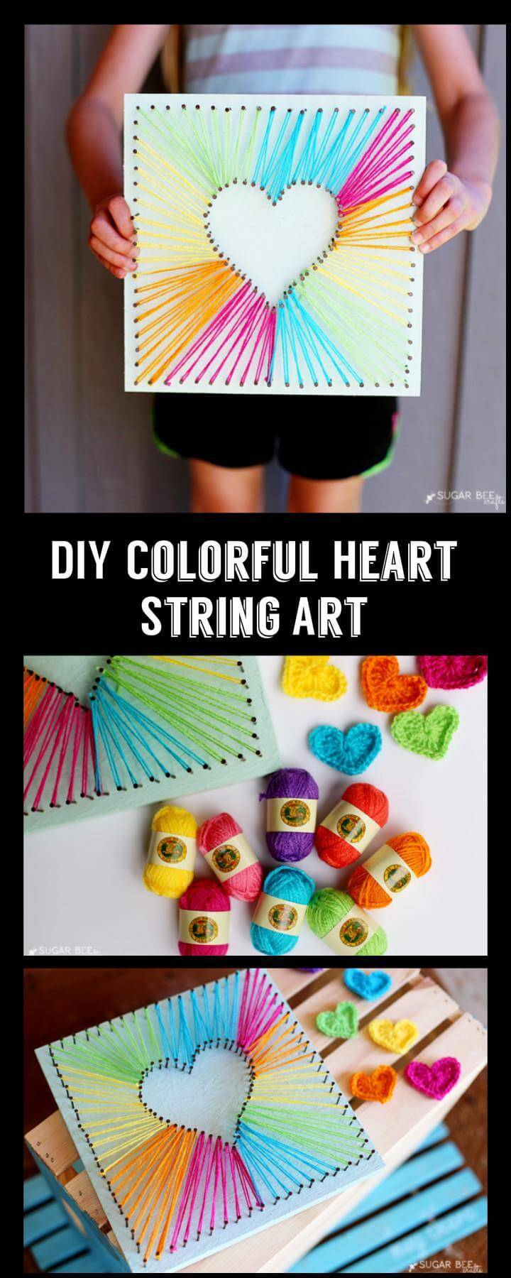 DIY Colorful Heart String Art