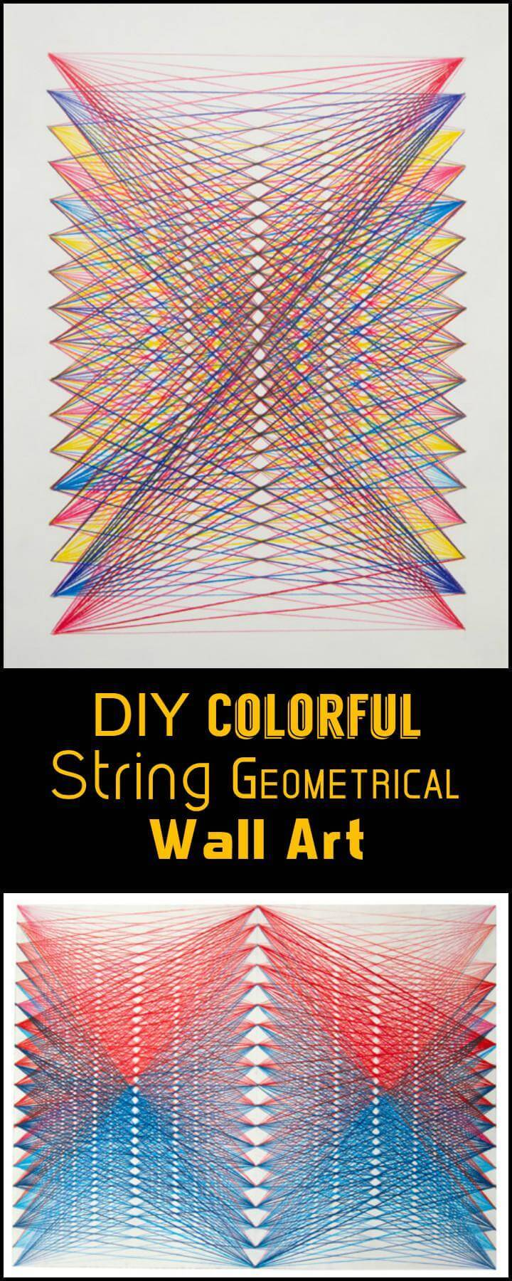 DIY Colorful String Geometrical Wall Art