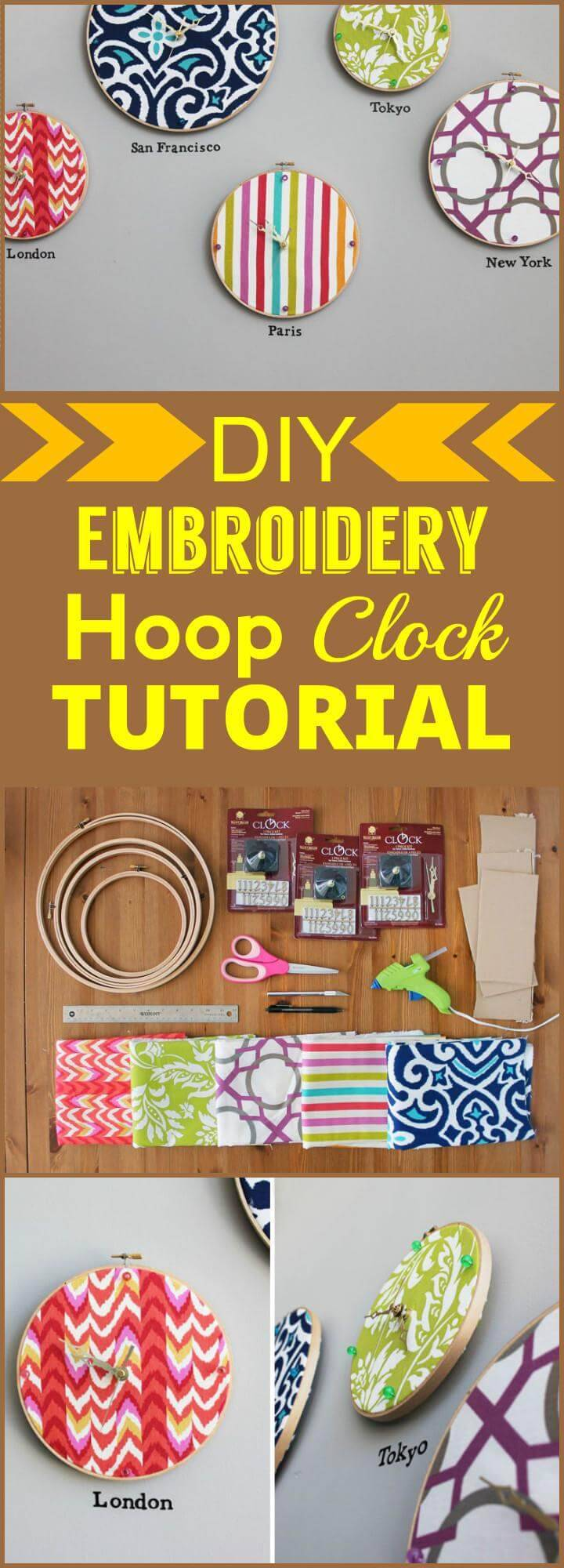DIY embroidery hoop clock tutorial
