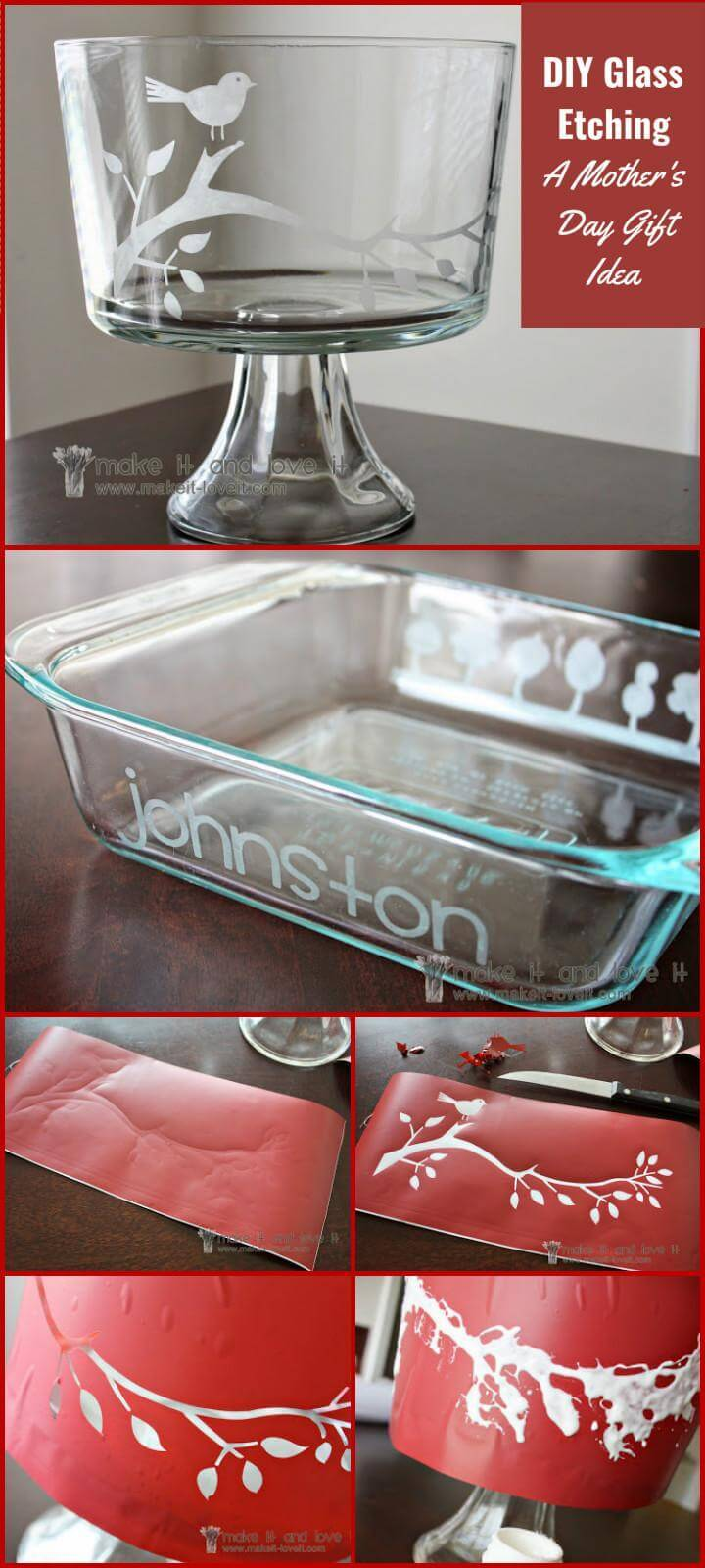 DIY glass etching Mother's Day gift project