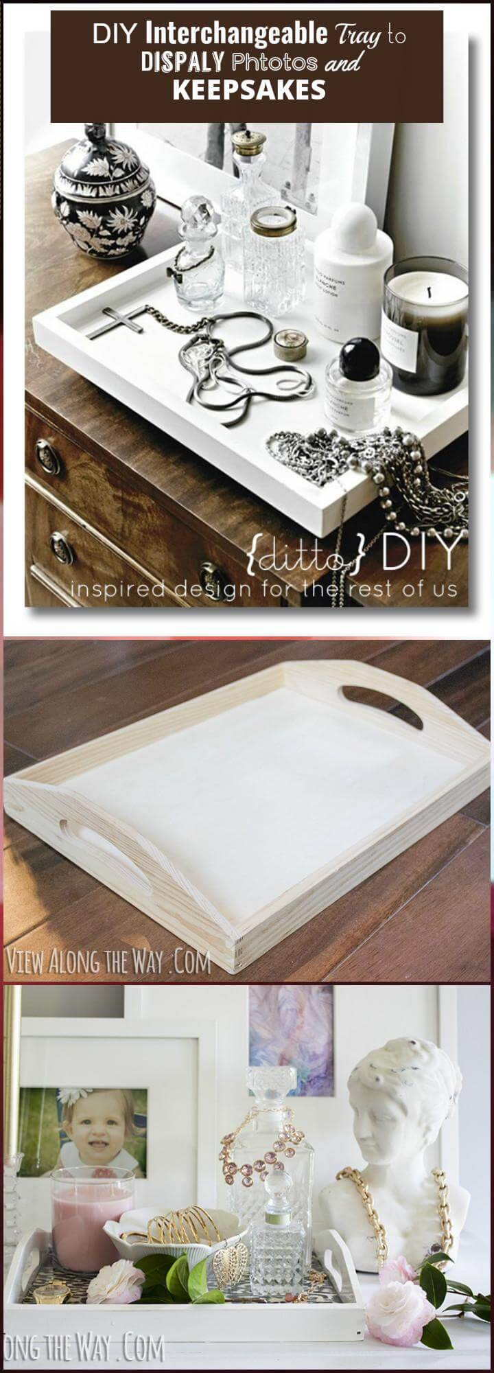 DIY interchangeable try to display photos and keepsakes
