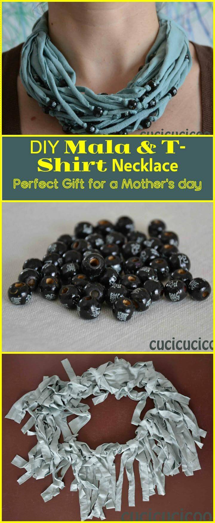 beautiful DIY mala t-shirt necklace