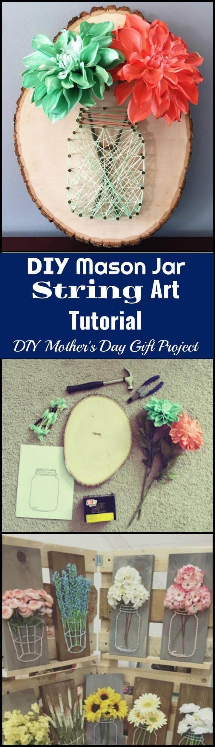 DIY Mason jar string art Mother's Day gift idea