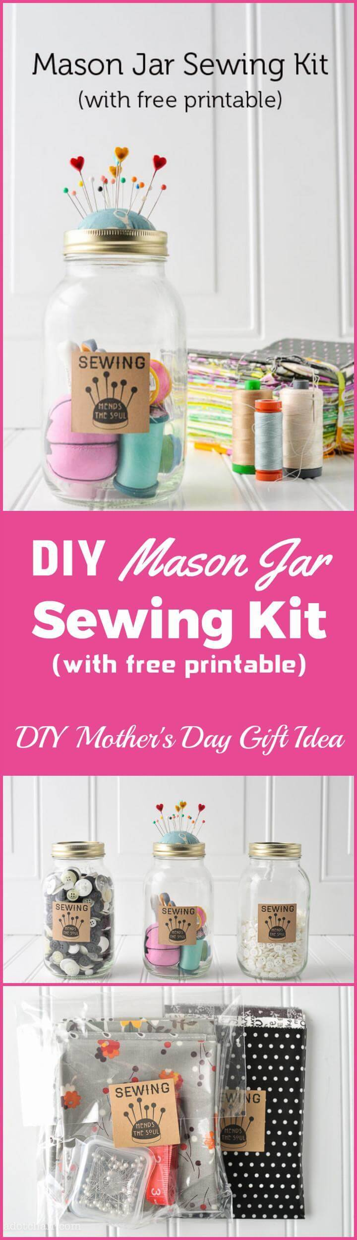DIY Mason jar sewing kit Mother's Day gift