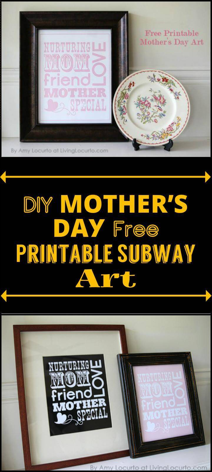 DIY Mother's Day free printable subway art