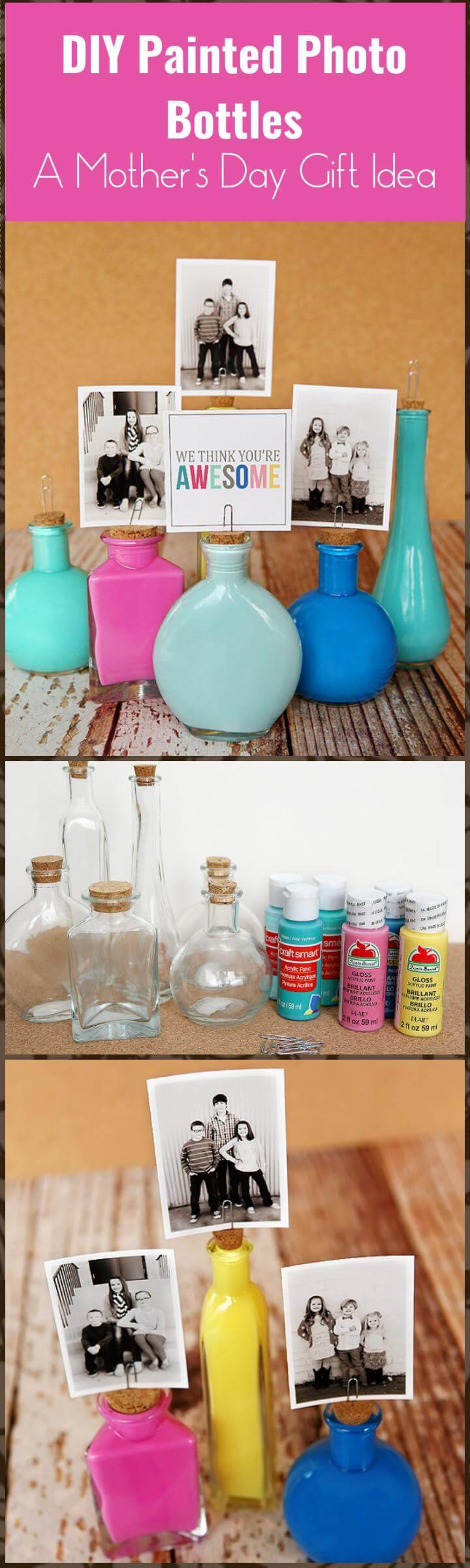 DIY painted photo bottles for Mother's Day