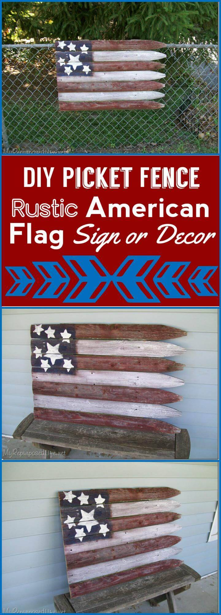 DIY picket fence rustic American flag sign or decor
