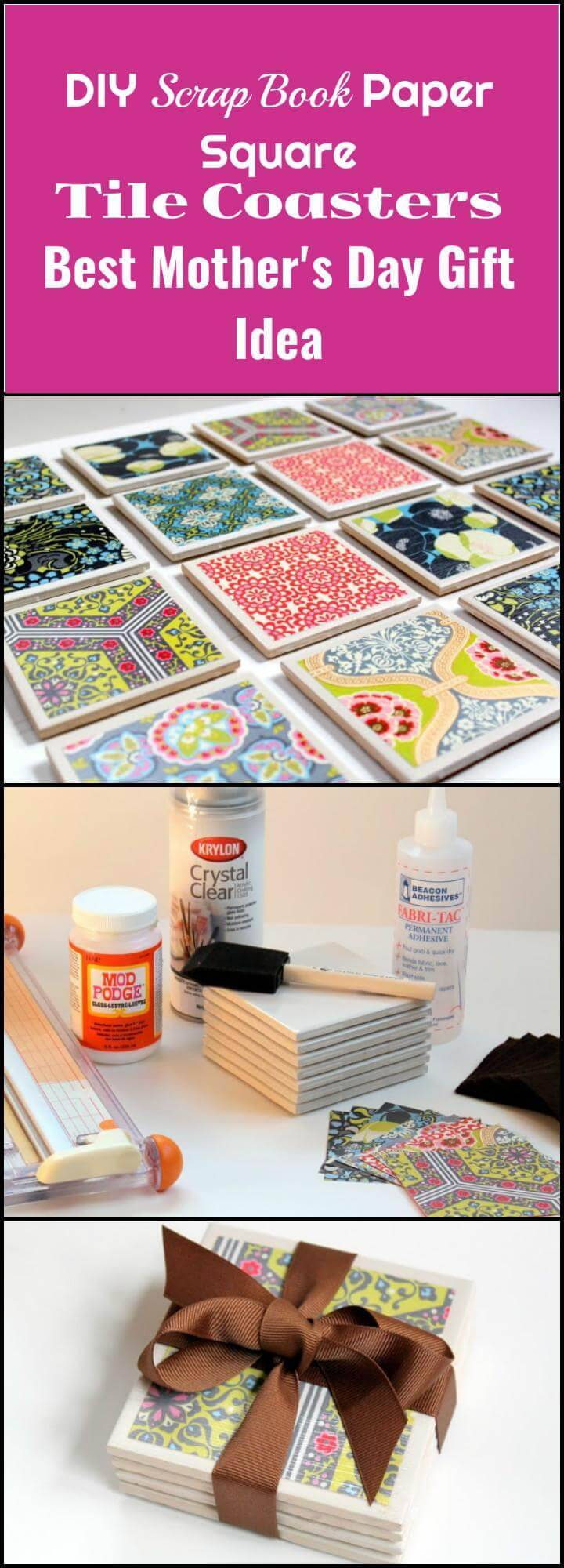 DIY scrap book paper square tile coasters