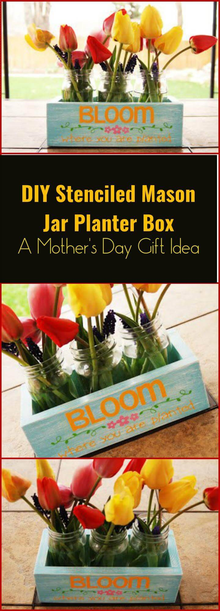 glam DIY stenciled Mason jar planter box