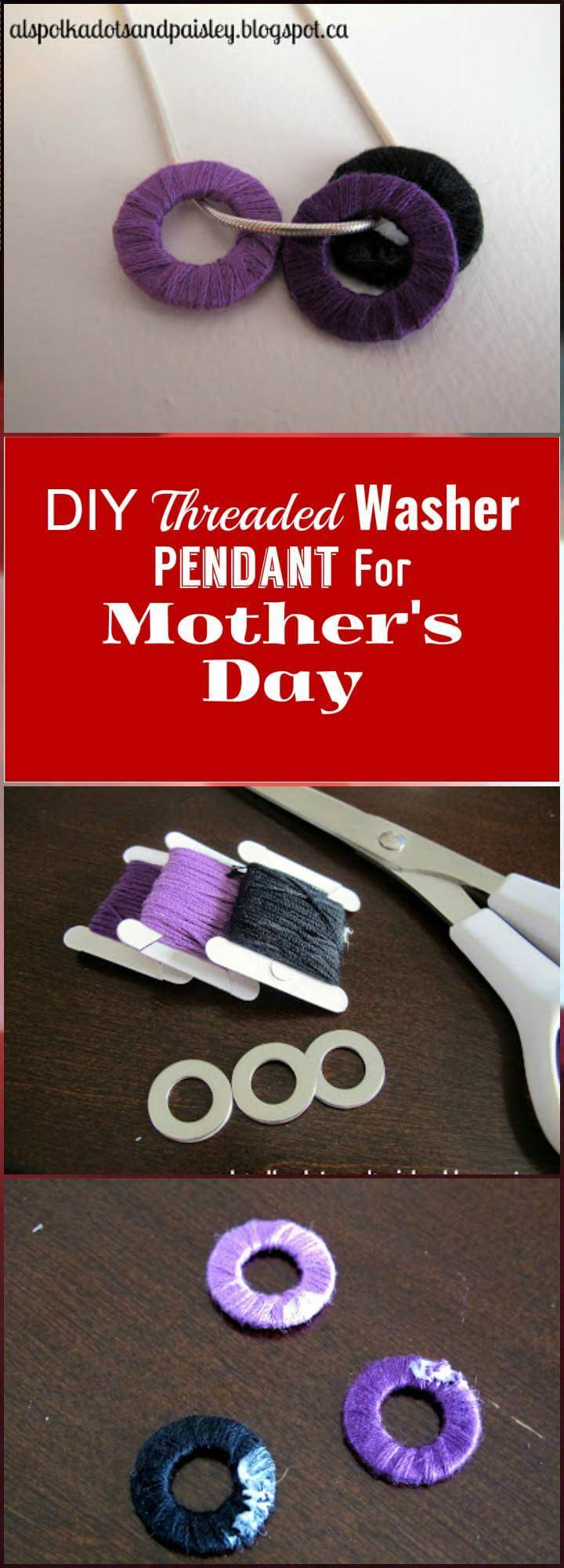 DIY threaded washer pendant for Mother's Day