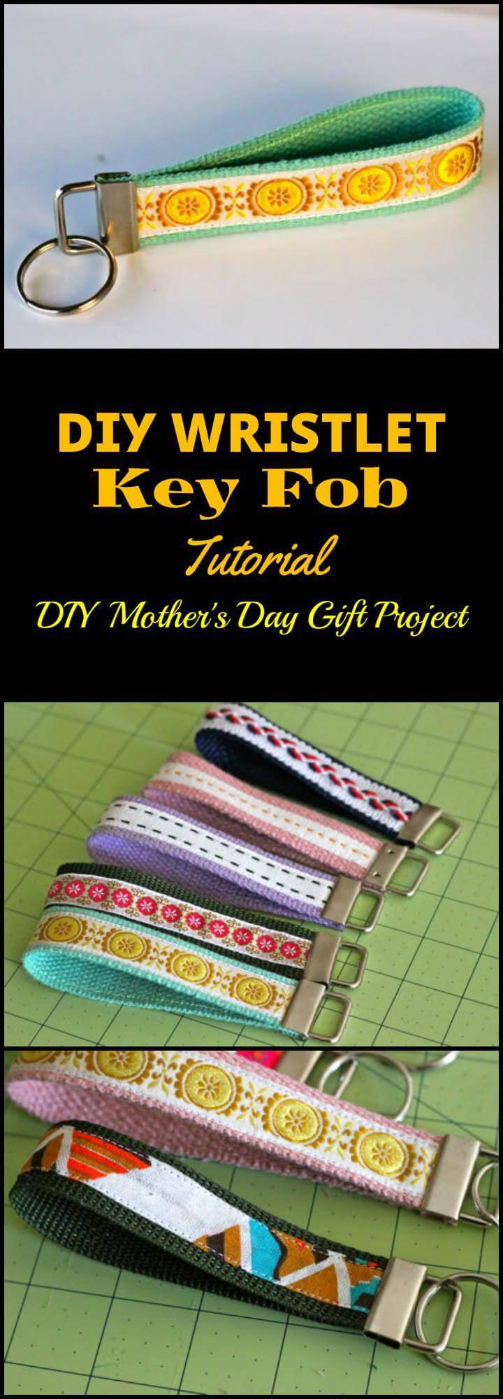 DIY easy wristlet key fob Mother's Day gift