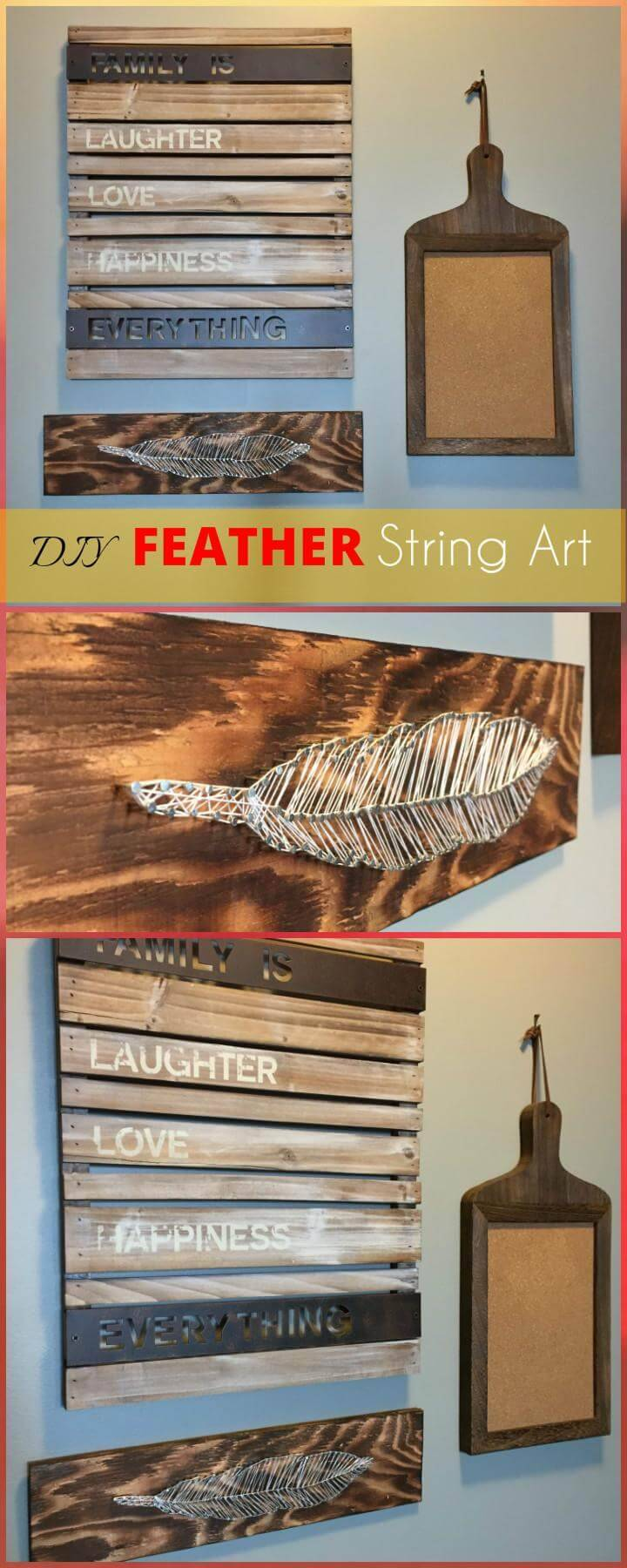 DIY  Feather String Art